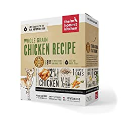 ORGANIC WHOLE GRAIN: The Honest Kitchen Whole Grain Chicken dog food is dog food made with free range chicken and dehydrated for maximum nutrition for puppies and adult dogs HIGH CALORIE AND HIGH PROTEIN: Perfect for all stages of life, this high cal...