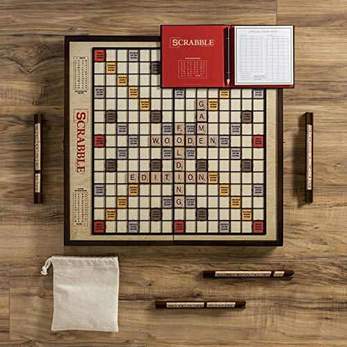 WS Game Company Scrabble Grand Folding Edition with Rotating Wooden Game Board