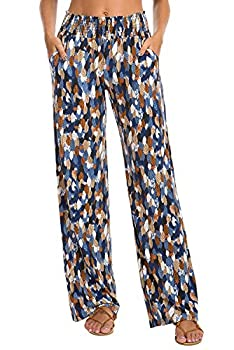 Urban CoCo Women s Boho Palazzo Pants Wide Leg Lounge Pants  S 9