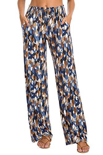 Urban CoCo Women's Boho Palazzo Pants Wide Leg Lounge Pants (L, 9)