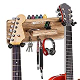 Apobob Guitar Wall Hanger Double Guitar Wall Mount Hanger with Shelf and Pick Holder, Wood Guitar Hanger Wall Mounted with 3 Wall Key Holders, Wall Decorative Guitar Hanger for Banjo, Acoustic, Bass