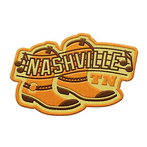 VAGABOND HEART Nashville Tennessee Travel Patch - Cowboy Boots und Countrymusik / Tolles Souvenir für Rucksäcke und Gepäck / Rucksackreisen und Reiseabzeichen