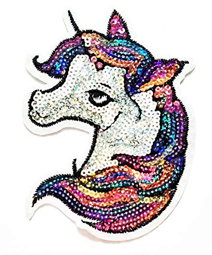 Buy Cheap Nipitshop Patches Sequin Fashion Head Unicorn Horse Cartoon Kids Patch Embroidered Iron On...