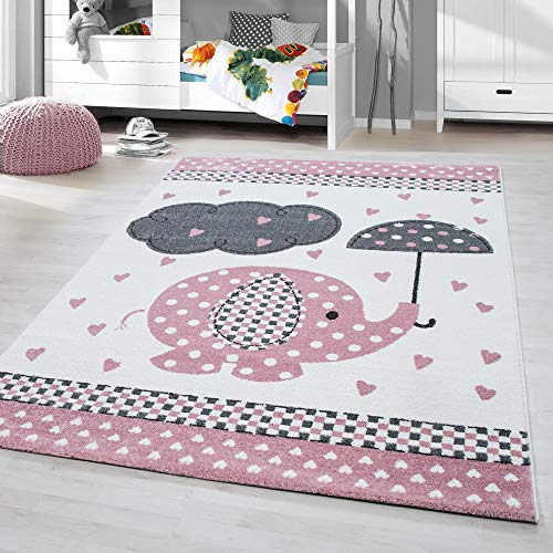 HomebyHome Kinderteppich Kurzflor Elephant Kinderzimmer Babyzimmer Grau Pink Meliert, Größe:160 cm Rund