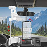 Universal Car Phone Holder, 360° Rotating Retractable Rearview Mirror Car Phone Mount, Adjustable for 70mm-100mm Width Phones Universal 4.0'- 6.1' Phone Holder Stand Car Headrest Mount - White