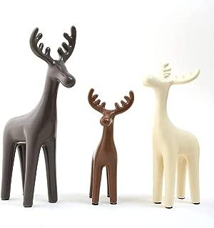 Anding 3 Sets of Ceramic Deer Ornaments, Home Decoration, Animal Statues, Porcelain Sculptures