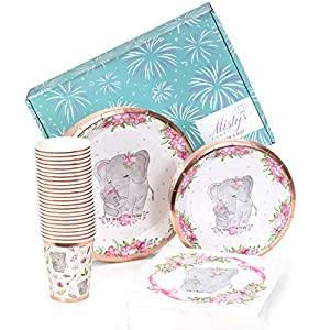 ♡ADORABLE ELEPHANT DESIGN - Our heartwarming mother and baby elephant floral design makes for the cutest baby girl shower plates and napkins. Dazzle your guests by adding this set to your baby shower decorations for girl elephant theme. It's so effor...