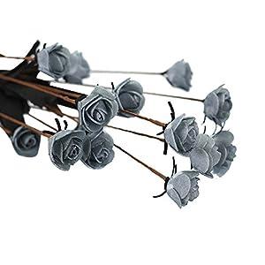 Silk Flower Arrangements FILOL Artificial Flower Mini Roses Bouquet, 15 Heads Real Looking Fake Roses DIY Wedding Brial Bouquets Centerpieces Arrangements Party Home Kitchen Office Wedding Garden Decor (Gray)