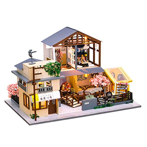 JWIL Toy cabin Diy Hut Creative Gift Japanese Architecture Doll House Christmas Birthday Gift Handmade Toys with Light & Tools as birthday/Christmas