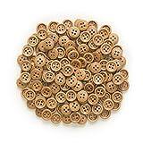 Botones artesanales de bricolaje hechos a mano 30 / 50pcs Botones de madera de 4 orificios para coser Scrapbook Ropa Artesanía Regalo Chaqueta Blazer Suéteres Accesorios para el trabajo manual 10-25mm