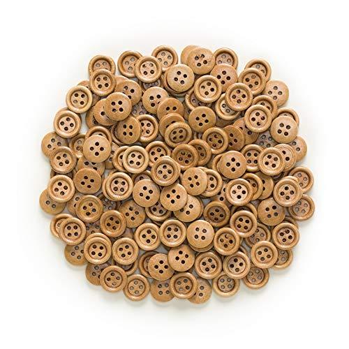 Bricolaje creativo 30 / 50pcs Botones de madera de 4 orificios para coser Scrapbook Ropa Artesanía Regalo Chaqueta Blazer Suéteres Accesorios para el trabajo manual 10-25mm para ropa, accesorios, deco