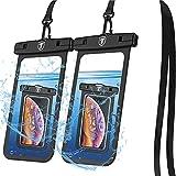 Tiflook Waterproof Pouch Phone Dry Bag Underwater Case for Motorola Moto G Power G Stylus G Play G Fast G7 G6 G5 E 2020 E6 E5 Z4 Z3 Phone Pouch for Beach with Lanyard Neck Strap, Black (2 Pack)