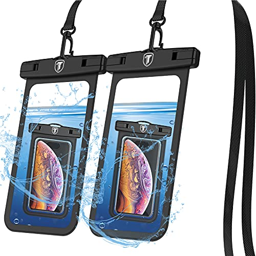 Tiflook Waterproof Pouch Phone Dry Bag Underwater Case for Samsung Galaxy S21 S20 S10 S9 A12 A32 A52 A02S A11 A21 A51 A71 Note 20 Ultra Phone Pouch for Beach with Lanyard Neck Strap, Black (2 Pack)