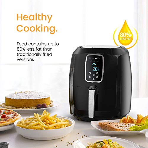 Pro Breeze XL 5.5L Air Fryer 1800W with Digital Display, Timer and Fully Adjustable Temperature Control for Healthy Oil Free & Low Fat Cooking