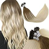 LaaVoo Blonde Nano Bead Hair Extensions Ash Brown Fading to Platinum Blonde Nano Ring Hair Extensions Remy Human Hair Ombre Pre Bonde Nano Tip Extensions Cold Fusion Silky Straight for Women 50g/s 18'