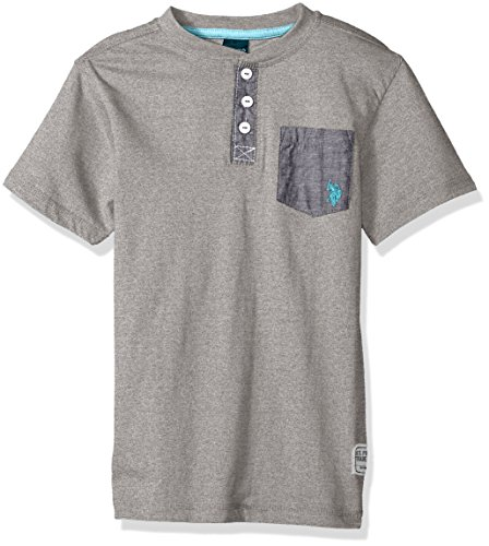 U.S. Polo Assn. Boys' Toddler Short Sleeve Solid Henley T-Shirt, Marbled Jersey Chambray Pocket Marled Light Grey, 3T