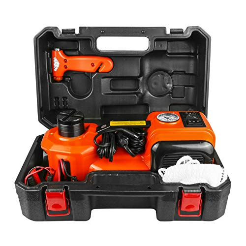 MR CARTOOL 12V DC 5.0T(11023lb) Electric Hydraulic Floor Jack,Tire Inflator Pump and LED Flashlight 3 in 1 Set with Safe Hammer, Whole Set of Car Repair Tool Kit Electric Car Jack