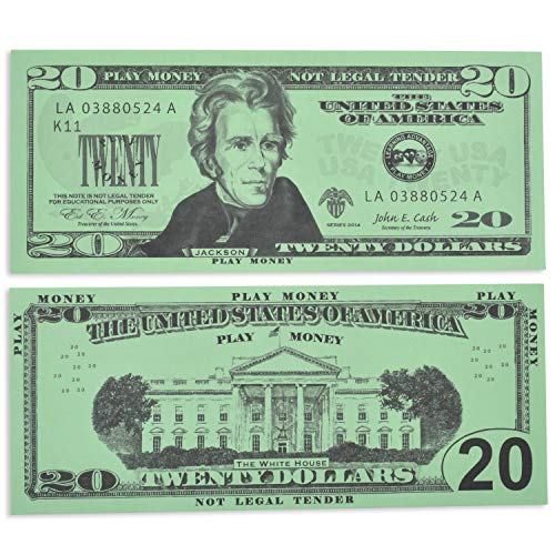LEARNING ADVANTAGE Twenty Dollar Play Bills - Set of 100 $20 Paper Bills - Designed and Sized Like Real US Currency - Teach Currency, Counting and Math with Play Money (7529)