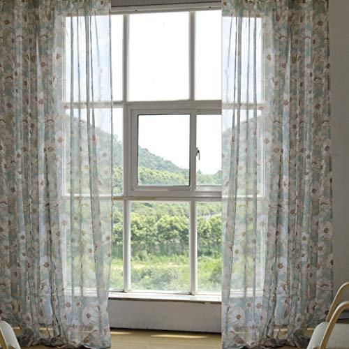 Eastery plooiband gordijn bloemen voile transparant 1 stuk B * H 140 * 145 cm raamgordijn eenvoudige stijl romantische huis Simplicity Life thema decoratie gordijnen