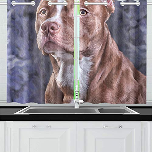 YUMOING Drawing Dog American Pit Bull Terrier Kitchen Curtains Window Curtain Tiers for Café, Bath, Laundry, Living Room Bedroom 26 X 39 Inch 2 Pieces