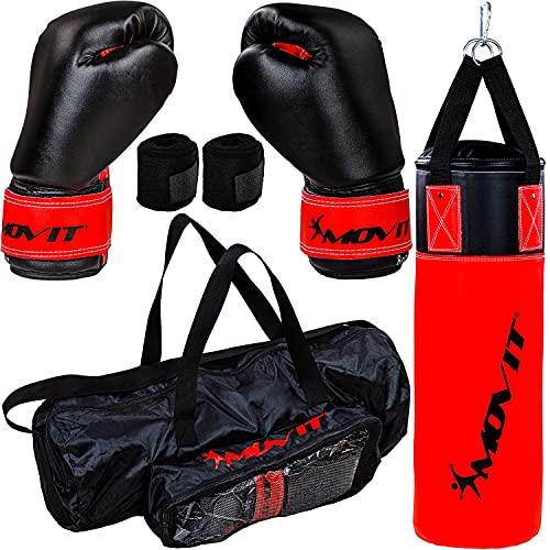 Movit® Boxsack-Set 5,5kg, inkl. Boxsack, 8 oz Boxhandschuhe, Boxbandagen und Tasche, für Kinder und Jugendliche, Boxing Boxen, rot-schwarz