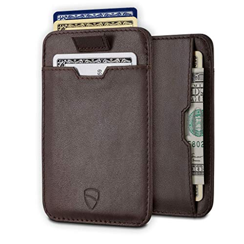 Vaultskin CHELSEA Slim Minimalist Leather Mens Wallet with RFID Blocking, Front Pocket Credit Card Holder (Brown)