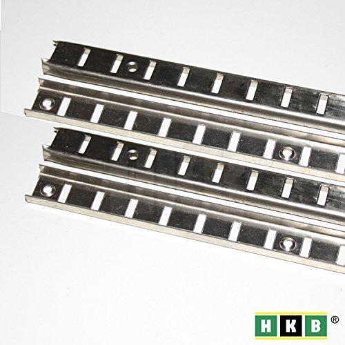 HKB ® 4 Stück Bodenträgerschiene Vari, 16mm, 1000 x 16mm, vernickelt, Fachbodenträger, Möbelbodenträger, Löffelbodenträger, ohne Schrauben, Hersteller Hettich, Artikel-Nr. 9116037-4