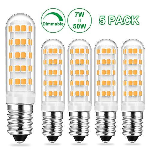 E14 LED Dimmbar Lampe Warmweiss, 7W Ersetzt 50W Halogen Lampen, Birne Leuchtmittel glühbirne, Warmweiß 2700K, 580LM AC 230V, 360° Lichtwinkel, 5er Pack, Viaus