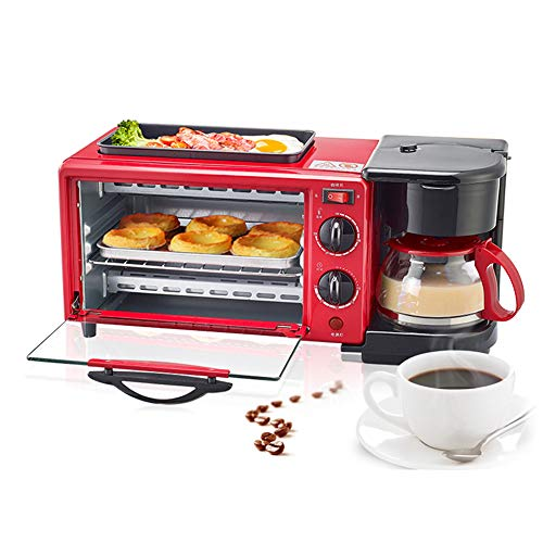 WooBrit 3 in 1 Multifunktional Frühstücksofen Mini-Backöfen Mini-Ofen, Backöfen + Krümelblech + Kaffeemaschinen, Elektrische Backofen Haushalt Coffee Baking Maker Cooker Machine Pizzaofen Rot