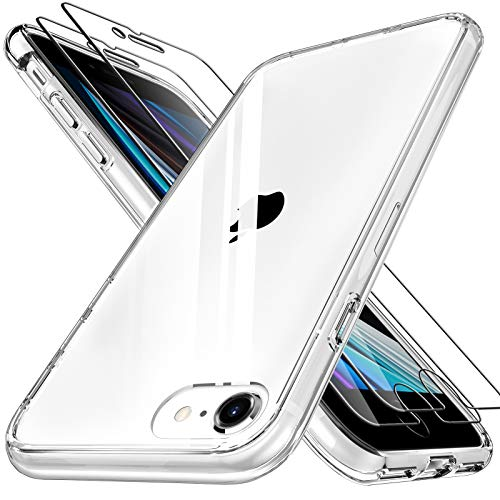 LK Compatible con iPhone SE 2020 Cristal Templado Funda 4.7 Pulgadas, 2 Pack Vidrio Templado Protector de Pantalla & 1 Clear Cover Case Carcasa Compatible con iPhone SE 2020 - Transparente
