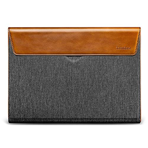tomtoc Compact Laptop Case Sleeve Designed for 15-inch MacBook Pro with Touch Bar and Touch ID A1990 A1707 (Late 2016-2020), Spill-resistant Box PU Leather Envelope Bag Case Cover