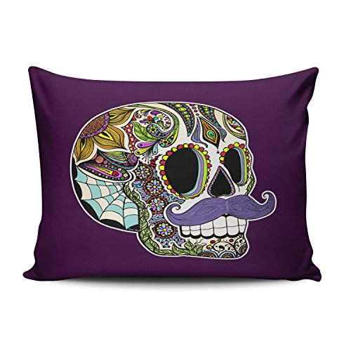 Hoooottle Custom Mustache Sugar Skull Color Customizable Paisley Hot Pillowcase Rectangle Zippered One Side Design Printed 16x24 Inch Throw Pillow Case Cushion Cover