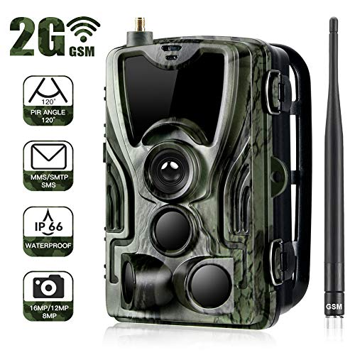Sugeryy Wildcamera Mit BewegungsmelderJagdkamera 2G(GPRS GSM MMS SMTP SMS) HC-801M 16MP1080P Infrarot Nachtsicht Outdoor Natur Kamera Auslöser IP65 Wasserdicht für Tierbeobachtung.