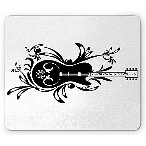 Gitarren-Mausunterlage,Blumenzusammensetzung des Elektrischen Einzelteils Und Flourishes Im Einfarbigen Stil,Rechteck-Rutschfestes Gummi-Mousepad
