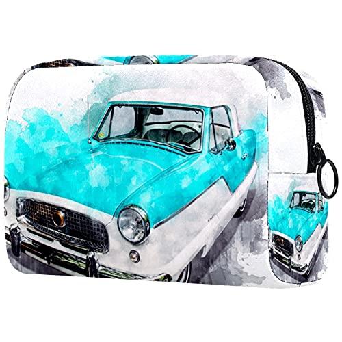 Yitian Bolsa de cosméticos de coche de acuarela para mujeres, adorable bolsa de maquillaje espaciosa bolsa de aseo de viaje