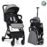 INFANS Lightweight Baby Stroller   Folding Travel Stroller with Extendable Pull Rod, Safe Five-Point Harness, Adjustable Backrest & Footrest, Storage Basket, Cup Holder, for 0-3 Year (Grey)