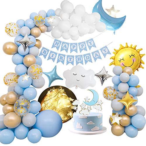 MMTX Decoraciones De Fiesta De Cumpleaños Niños Niñas, Decoración de globos de fiesta con pancarta de feliz cumpleaños, globo de papel de nubes de sol y luna, globo de estrellas para la cumpleaños
