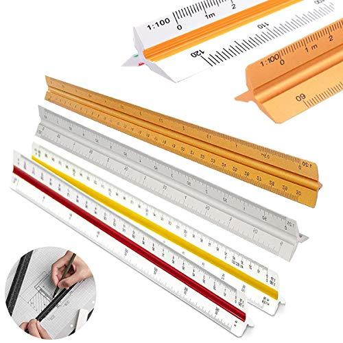 Regla Triangular Precisión, Senteen 4 Pcs Multifunción Escala Triangular 30 Cm Regla de Escala Scale Ruler Metric para Arquitectos Ingenieros
