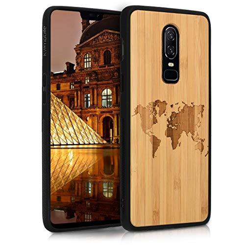 kwmobile Carcasa Compatible con OnePlus 6 - Funda de bambú con Bumper de Silicona Mapa del Mundo