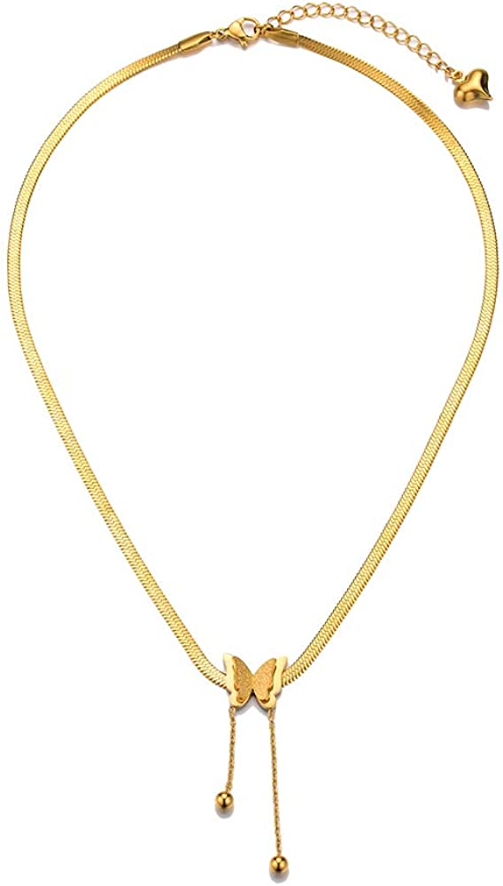 NEULRY Golden 5 ☆ popular Butterfly Max 84% OFF Necklace 18K Chic Smart Ca Plated Choker