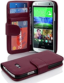 Cadorabo Book Case Works with HTC ONE M8 Mini (2.Gen.) in Bordeaux Purple – with Magnetic Closure and 3 Card Slots – Wallet Etui Cover Pouch PU Leather Flip