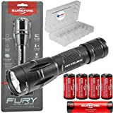 SureFire Fury Intellibeam 1500 Lumen Tactical Flashlight (Fury-IB-DF) BUNDLE with 4 Extra SureFire CR123A batteries and a Lightjunction Battery Case