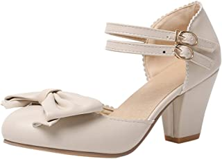 JOJONUNU Women Fashion Block Heel Sandals Bow