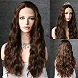 QD-Udreamy Dark Brown Color Natural Long Wavy Lace Front Wigs Party Wigs Heat Resistant Hair Realistic Looking Glueless Synthetic Wigs for Women