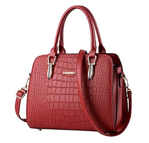 Cerui Borsa Donna a Mano Shopping Bag Ahead Modello da Spalla PU Pelle Vino rosso