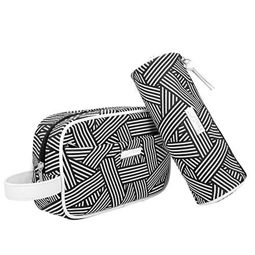 Luxspire Kosmetiktasche, 2 Stück PU Leder Kosmetik Aufbewahrungstasche Box Kulturbeutel Reise Tragbar Handtasche Organizer für Frauen Männer - Schwarz + Weiß