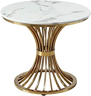 Lcxliga Living Room Table Furniture Marble Coffee Table Gold Plated Stainless Steel Small Round Decorative Table Modern Cr...