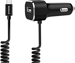 USB Type C Car Charger, Nekteck 27W USB-C Car Charger Adapter with Integrated Built-in 3.9ft Type-C 3.1 Coiled Cord and US...