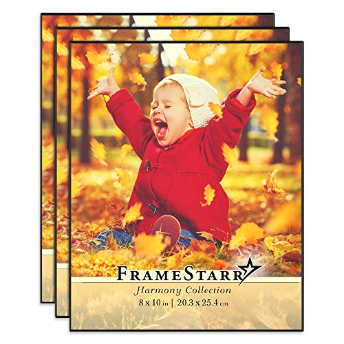 FrameStarr 8x10 Picture Frame Set (Black, 3 Pack), Front-Loading Contemporary Modern Style, Tabletop or Wall Mount, Harmony Collection