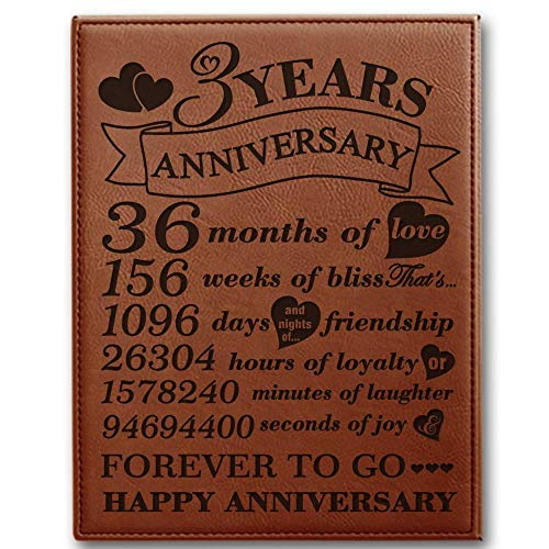 BELLA BUSTA- 3 Years Anniversary-Years, Months, Weeks, Days, Hours, Minutes, Seconds- 3rd Wedding Anniversary- Engraved Leather Plaque (7 x 9 Vertical (Rawhide))